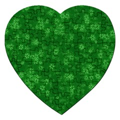 Snow Stars Green Jigsaw Puzzle (Heart) by ImpressiveMoments