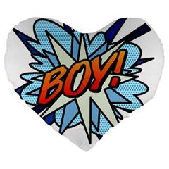 Comic Book Boy! Large 19  Premium Heart Shape Cushions by ComicBookPOP