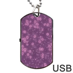 Snow Stars Lilac Dog Tag Usb Flash (two Sides)  by ImpressiveMoments