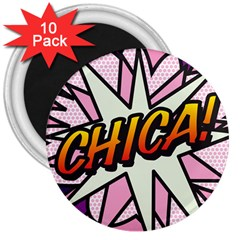 Comic Book Chica!  3  Magnets (10 Pack)  by ComicBookPOP