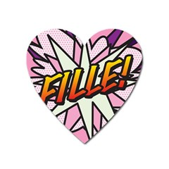 Comic Book Fille! Heart Magnet by ComicBookPOP