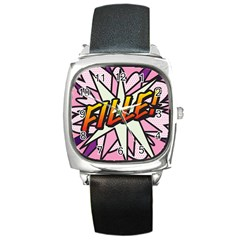 Comic Book Fille! Square Metal Watches by ComicBookPOP