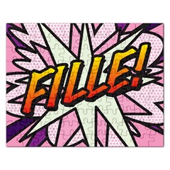 Comic Book Fille! Rectangular Jigsaw Puzzl by ComicBookPOP