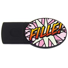 Comic Book Fille! Usb Flash Drive Oval (4 Gb)  by ComicBookPOP