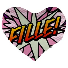 Comic Book Fille! Large 19  Premium Heart Shape Cushions by ComicBookPOP