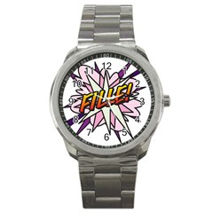 Comic Book Fille! Sport Metal Watches by ComicBookPOP