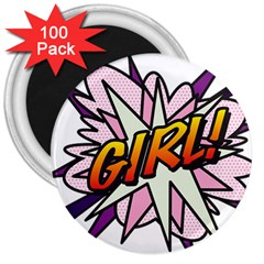 Comic Book Girl!  3  Magnets (100 pack) by ComicBookPOP