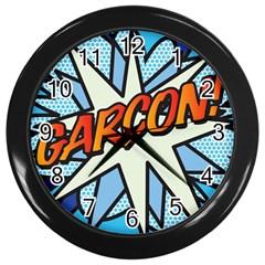 Comic Book Garcon! Wall Clocks (black) by ComicBookPOP