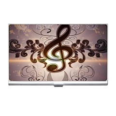 Music, Wonderful Clef With Floral Elements Business Card Holders by FantasyWorld7