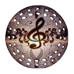 Music, Wonderful Clef With Floral Elements Round Filigree Ornament (2side) by FantasyWorld7