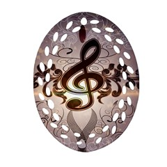 Music, Wonderful Clef With Floral Elements Ornament (oval Filigree)  by FantasyWorld7