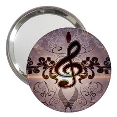 Music, Wonderful Clef With Floral Elements 3  Handbag Mirrors by FantasyWorld7