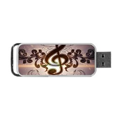 Music, Wonderful Clef With Floral Elements Portable Usb Flash (two Sides) by FantasyWorld7