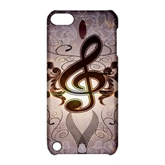 Music, Wonderful Clef With Floral Elements Apple Ipod Touch 5 Hardshell Case With Stand by FantasyWorld7