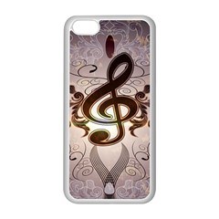 Music, Wonderful Clef With Floral Elements Apple Iphone 5c Seamless Case (white) by FantasyWorld7