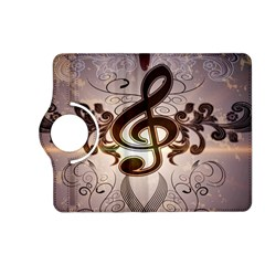 Music, Wonderful Clef With Floral Elements Kindle Fire HD (2013) Flip 360 Case