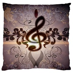 Music, Wonderful Clef With Floral Elements Large Flano Cushion Cases (One Side)  by FantasyWorld7