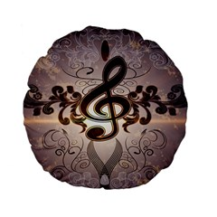Music, Wonderful Clef With Floral Elements Standard 15  Premium Flano Round Cushions by FantasyWorld7