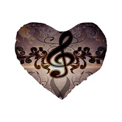 Music, Wonderful Clef With Floral Elements Standard 16  Premium Flano Heart Shape Cushions by FantasyWorld7