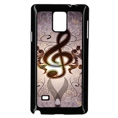 Music, Wonderful Clef With Floral Elements Samsung Galaxy Note 4 Case (black) by FantasyWorld7