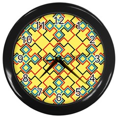 Shapes On A Yellow Background Wall Clock (black) by LalyLauraFLM