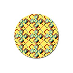 Shapes On A Yellow Background Magnet 3  (round) by LalyLauraFLM