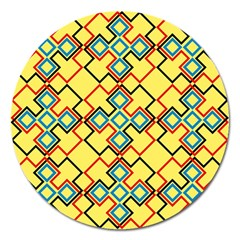 Shapes On A Yellow Background Magnet 5  (round) by LalyLauraFLM