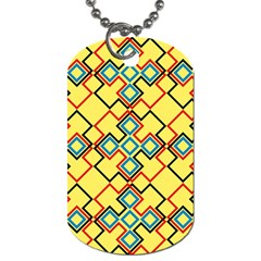 Shapes On A Yellow Background Dog Tag (one Side) by LalyLauraFLM