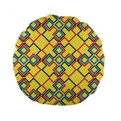 Shapes On A Yellow Background Standard 15  Premium Round Cushion  by LalyLauraFLM