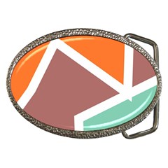 Misc Shapes In Retro Colors Belt Buckle