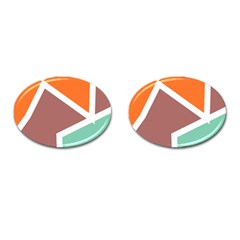 Misc Shapes In Retro Colors Cufflinks (oval) by LalyLauraFLM