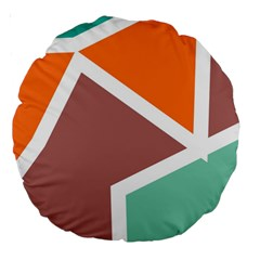 Misc Shapes In Retro Colors Large 18  Premium Round Cushion  by LalyLauraFLM