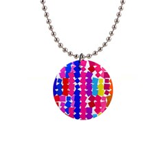 Colorful Squares 1  Button Necklace by LalyLauraFLM