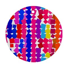 Colorful Squares Round Ornament (two Sides) by LalyLauraFLM