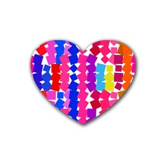 Colorful Squares Rubber Coaster (heart) by LalyLauraFLM
