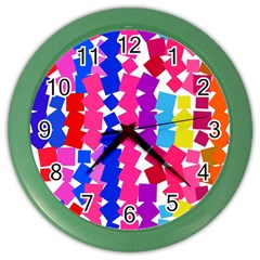 Colorful Squares Color Wall Clock by LalyLauraFLM