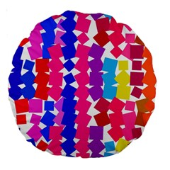Colorful Squares Large 18  Premium Round Cushion  by LalyLauraFLM