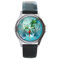 Summer Design With Cute Parrot And Palms Round Metal Watches by FantasyWorld7