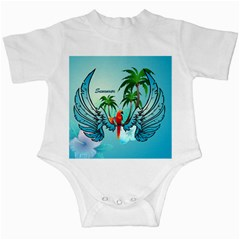 Summer Design With Cute Parrot And Palms Infant Creepers