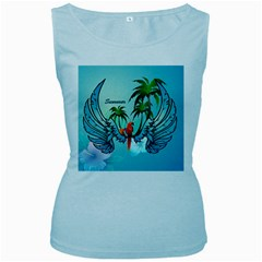 Summer Design With Cute Parrot And Palms Women s Baby Blue Tank Tops by FantasyWorld7