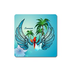 Summer Design With Cute Parrot And Palms Square Magnet