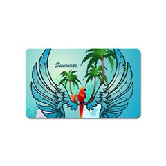 Summer Design With Cute Parrot And Palms Magnet (name Card)