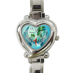 Summer Design With Cute Parrot And Palms Heart Italian Charm Watch
