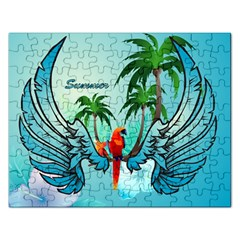 Summer Design With Cute Parrot And Palms Rectangular Jigsaw Puzzl by FantasyWorld7