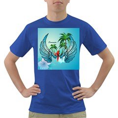 Summer Design With Cute Parrot And Palms Dark T Shirt