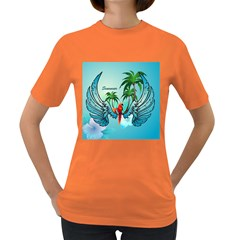 Summer Design With Cute Parrot And Palms Women s Dark T Shirt