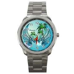 Summer Design With Cute Parrot And Palms Sport Metal Watches by FantasyWorld7