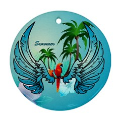 Summer Design With Cute Parrot And Palms Round Ornament (two Sides)  by FantasyWorld7