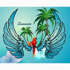 Summer Design With Cute Parrot And Palms Canvas 16  X 20