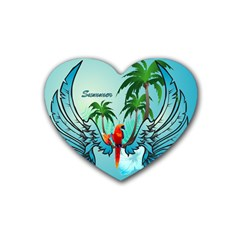 Summer Design With Cute Parrot And Palms Rubber Coaster (heart)
